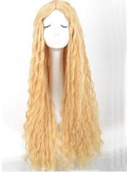 Cosplay Super Long Lignt Golden Wavy Synthetic Hair Wig