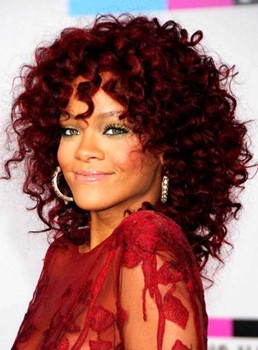 Fashion Rihanna Wine Red Medium Curly Synthetic Hair Wig 14 Inches