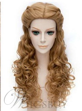 Hot Sale Cosplay Long Wavy Light Brown Synthetic Hair Wig 20 Inches