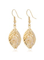Hollow-out Leaf Shaped Rhinestone Decorated Drop Earrings
