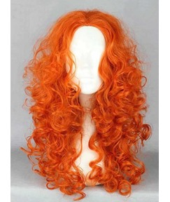 Modern Cosplay Long Curly Wavy Orange Party Wig