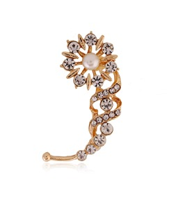 Rhinestone Flower Ear Clip