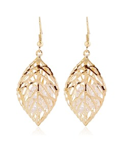 Stereo Leaf Shaped with Rhinestone Drop Earrings