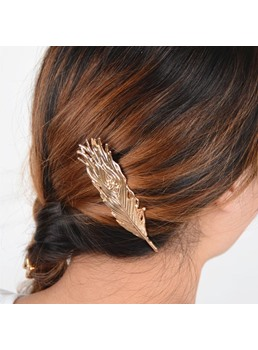 European Style Feather Shaped Hair Clip