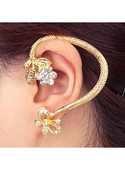 Floral & Bowknot Decorated Ear Cuff
