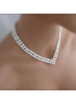 V Style Beads Decorated Necklace