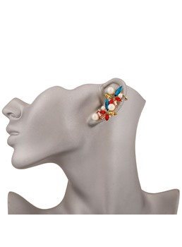 Colored Rhinestone with Pearls Ear Cuff
