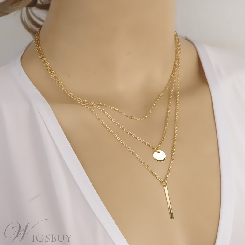 Multi-layer with Alloy Pendant Necklace
