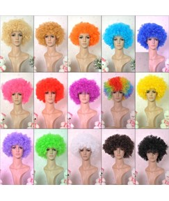 Afros Cosplay Short Curly Colorful Synthetic Hair Capless Wig