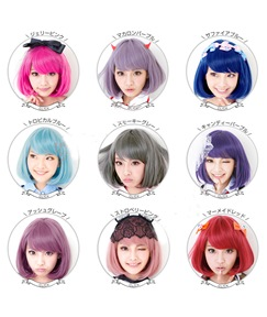 Cosplay Colorful Short Straight Bob Style Wig Synthetic Hair Capless 10 Inches
