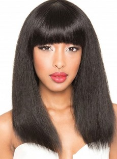 Unique Long with Full Bangs Capless Human Hair Wig 18 Inches