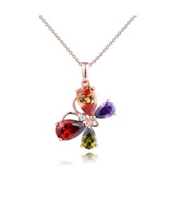 Colour Butterfly Pendant Zircon Necklace