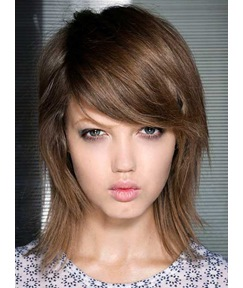 Beautiful Mid-length Straight Top Quality Human Hair Full Lace Cap Wig 12 Inches