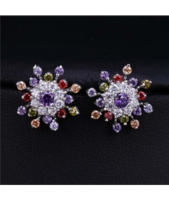 Flower Color Zircon Earrings