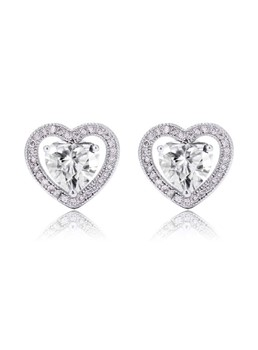 Lovely Heart Zircon Earrings