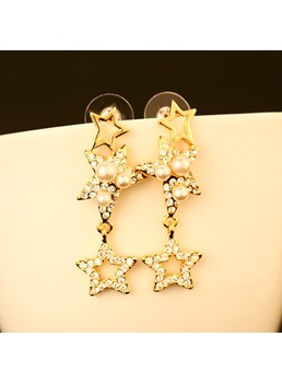 Pentagram Pearl Long Earrings