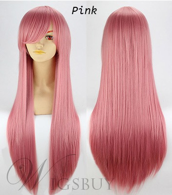 Colorful Cosplay Long Straight Synthetic Hair Capless Wig 30 Inches