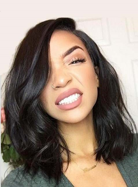 Charming Mid Length Loose Wavy Lace Front Human Hair Wig 14 Inches