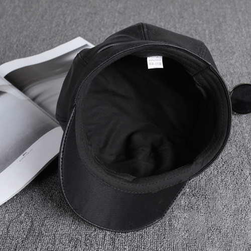 Black Leather Octagonal Cap