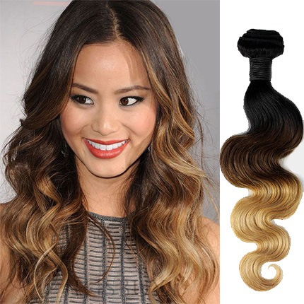 Modern Ombre 3 Tone Wavy Human Hair Weave/Weft 1 PC
