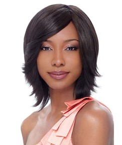 Pretty Layered Medium Straight Lace Front Human Hair Wig 14 Inches