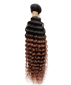 Curly Ombre 3 Tone Human Hair Weave 1 PC