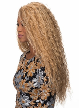 Unique Long Kinky Curly Capless Synthetic Hair Wig 30 Inches