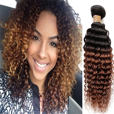 Top Quality Curly Ombre 3 Tone Human Hair Weave/Weft 1 PC