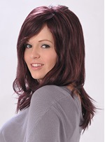 Sweet Long Straight Winered Synthetic Hair Capless16 Inches Wig