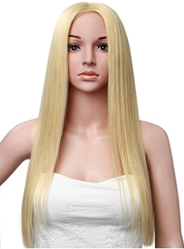 Elegant Long Straight Full Lace Cap Human Hair Wig 26 Inches