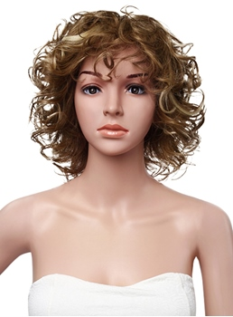 Hot Sale Medium Curly Full Lace Cap Human Hair Wig 12 Inches