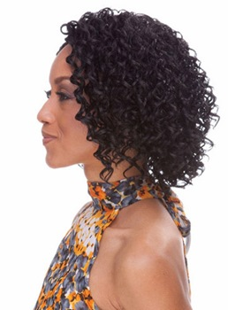 Hot Sale Medium Kinky Curly Capless Synthetic Hair Wig 12 Inches
