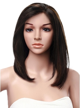 Side Bang Mix Color Mid-length Silk Straight Human Hair Lace Front Wigs 14 Inches