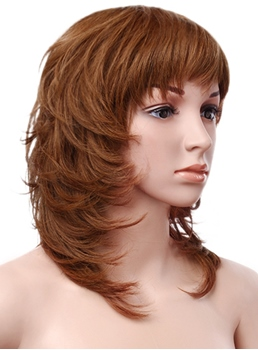Layered Silky Wavy 100% Human Hair 14 Inches Capless Wig