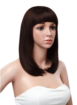 Smooth Straight 14 Inches Full Bang Synthetic Mono Top Cap Women Wigs