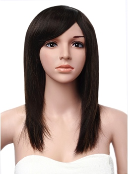 Side Swept Silk Straight Human Hair Lace Front 14 Inches Women Wigs
