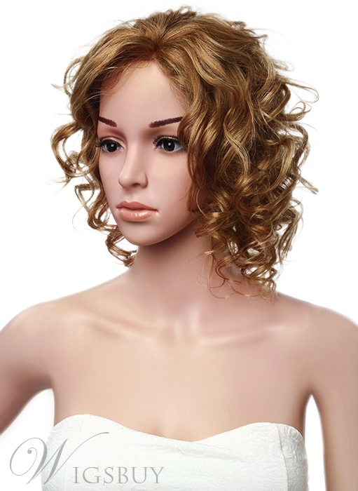 Human Hair Mid-length Lace Front Deep Curly 14 Inches Women Wigs