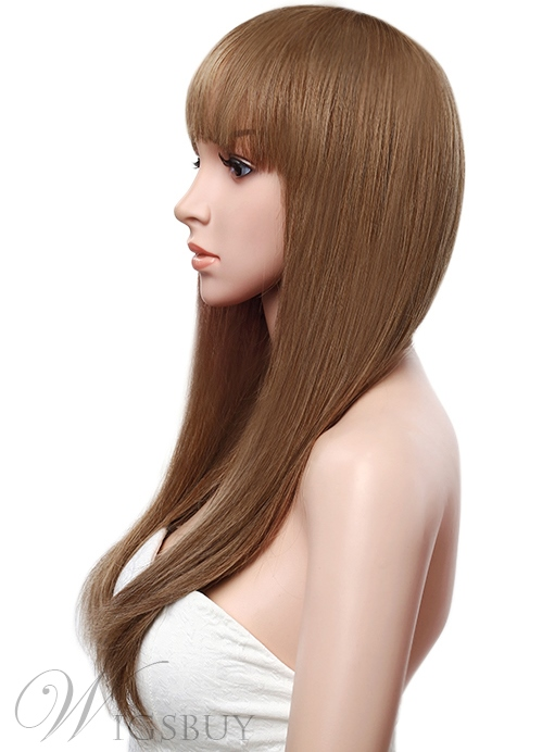 Pretty Long Straight Full Lace Cap Human Hair Wig 26 Inches