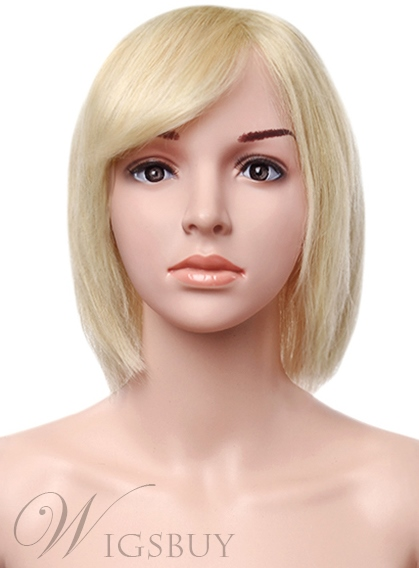 Short Bob Blonde 100% Human Hair Capless Wig