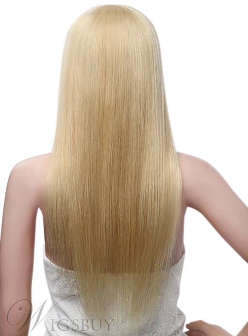 Smooth Long Straight Blonde Human Hair Capless Wig 20 Inches