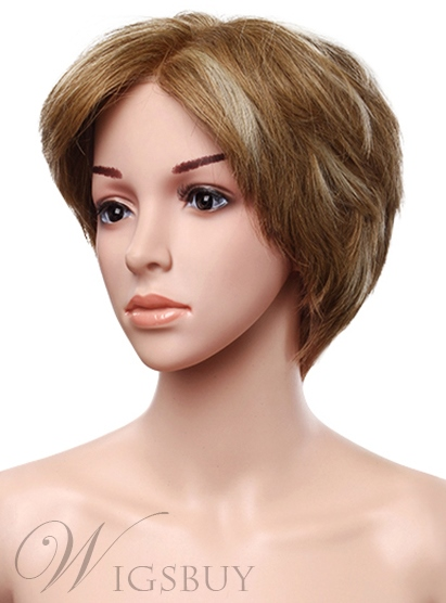 High Quality Full Lace Cap Human Hair Short Straight Wig