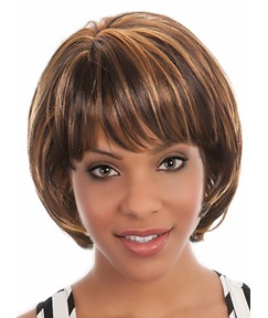 Short Straight Bob Hairstyle Capless Synthetic Hair Wig 10 Inches