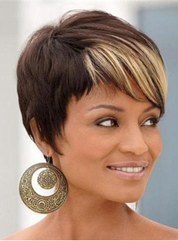 Short Straight Boycut Capless Synthetic Hair Wigs 8 Inches
