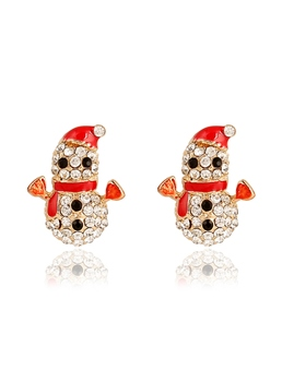 Snowman Zircon Earrings