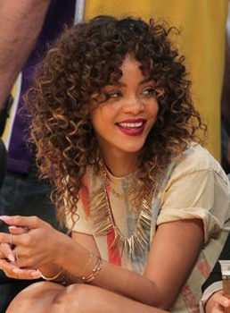 Rihanna Medium Curly Lace Front Synthetic Hair Wig 14 Inches