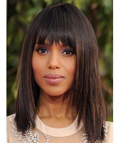Kerry Washington Medium Straight Capless Human Hair Wig 14 Inches