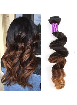 Ombre Color Wavy Human Hair Weave 1PC