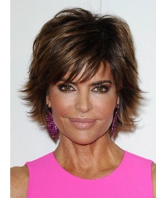 Lisa Rinna Fluffy Short Straight Mono Top Human Hair Wig 8 Inches