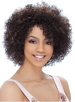Top Quality Short Kinky Curly Capless Synthetic Hair Wig 10 Inches