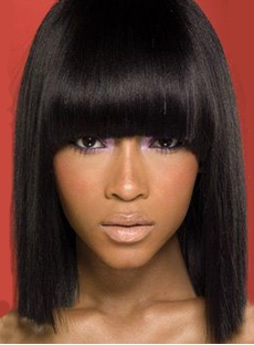 Unique Medium Straight with Full Bangs Capless Human Hair Wig 12 Inches